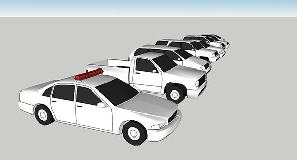 Low-poly car models, parked and ready for action