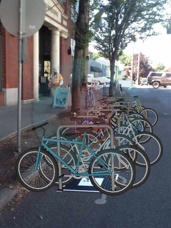 A colorful corral of bikes
