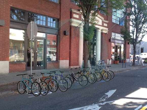 Presto! Augmented reality adds a bike corral.