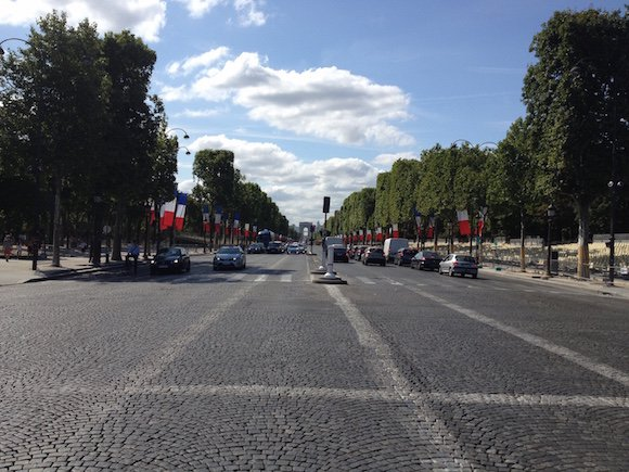 Avenue des Champs-Élysées lined with seating for Tour de France finish