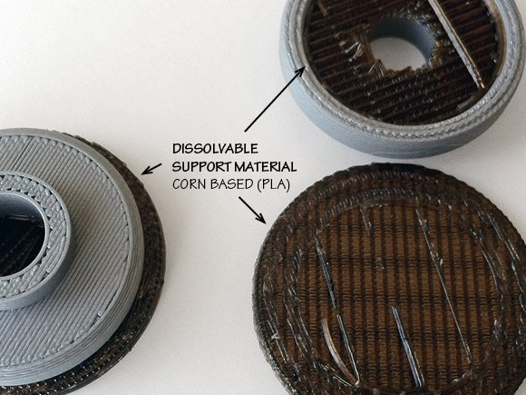 A corn based plastic (PLA) is laid around the ABS part to support the part.