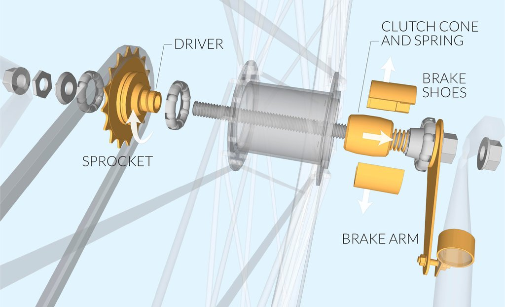 Movement of the clutch cone forces the brake shoes into contact with the inside of the hub.
