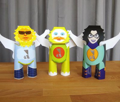 A trio of paper characters: a sun god, yeti and superhero!