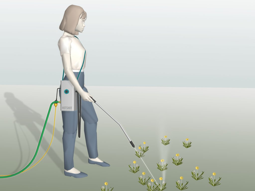 The HotShot allows the user to kill weeds without bending over or getting her hands dirty.
