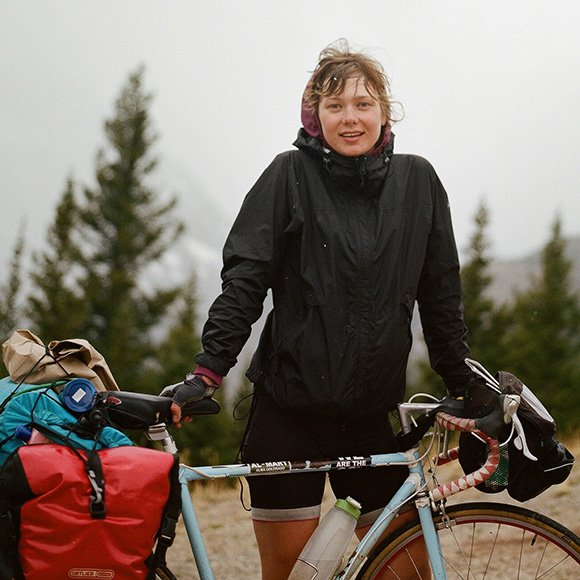 Yelena on her cross-country bicycle tour in 2012.