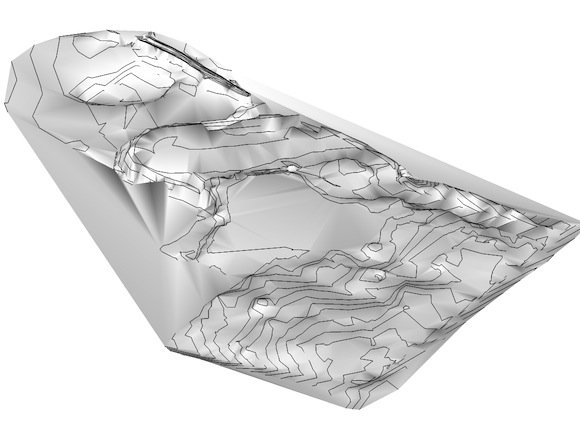 The SketchUp Sandbox tool generates a mesh and preserves the contours.