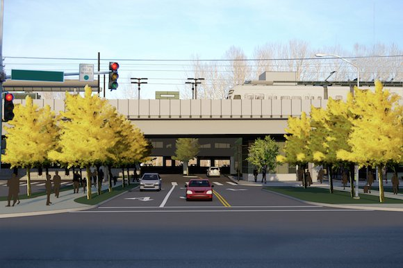 The proposed light rail station as viewed from the same intersection.