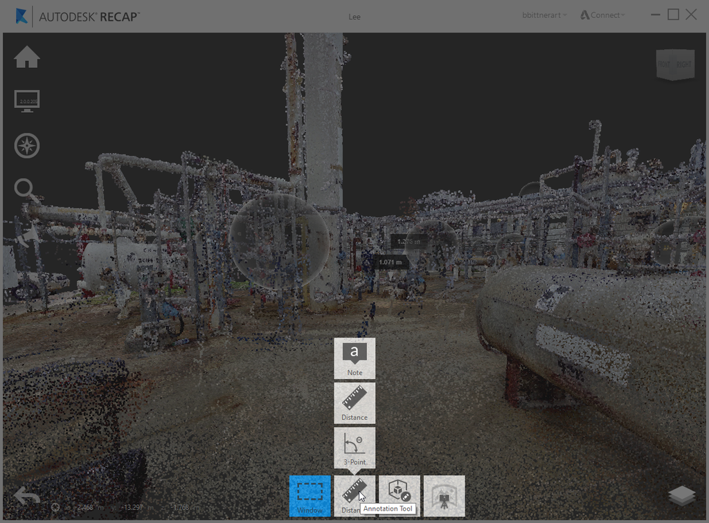 Measuring from a point cloud