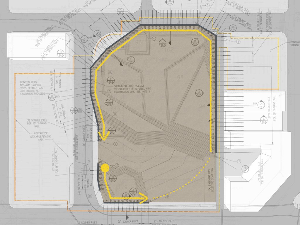Plan showing where excavation is to begin and how it will proceed around the site.