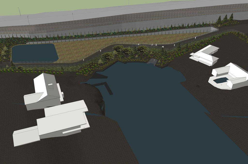 Digital model of completed stormwater facility and retaining wall.